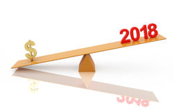 New Year 2018 with currency symbol Stock Images
