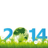 New Year 2014. Cute background New Year 2014 with globe Stock Illustration