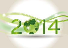 New Year 2014. Cute card on 2014 year with green globe Stock Image