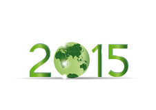 New Year 2015. Cute card on 2015 year with green globe Stock Images