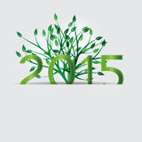 New Year 2015. Cute card on 2015 year with green globe Stock Photography