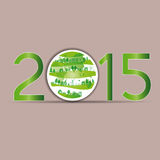 New Year 2015. Cute card on 2015 year with green globe Stock Image