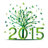 New Year 2015. Cute card on 2015 year with green sets Stock Photo