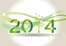 New Year 2014. Cute card on 2014 year with green tree Royalty Free Stock Photo