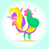 New Year Cute cartoon rooster vector illustration. Cock farm bird. Holiday card design element. Merry Christmas, happy. New Year Cute cartoon rooster vector Stock Images