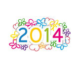 New Year 2014. Cute and colorful card on New Year 2014 Royalty Free Stock Image