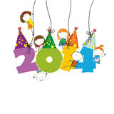 New Year 2014. Cute and colorful card on New Year 2014 Stock Photo