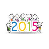 New Year 2015. Cute and colorful card on New Year 2015 Stock Photography