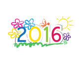 New Year 2016. Cute and colorful card on New Year 2016 vector illustration