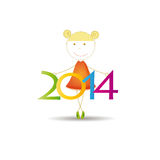 New Year 2014. Cute and colorful card 2014 with happy girl Stock Photography