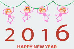 2016 new year cute monkey background. 2016 new year cute pink monkey background royalty free illustration