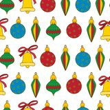New year cute seamless pattern with colorful Christmas decorations.Vector. Illustration.Beautiful print for book covers,textile,fabric,wrapping royalty free illustration