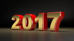 2017 new year. 3D abstract illustration of 2017 year on a  dark  background Stock Image