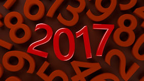 2017 new year. 3D abstract illustration of 2017 year on a  red  background Royalty Free Stock Image