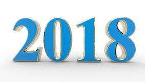 New year 2018 3d. Blue with white background stock illustration