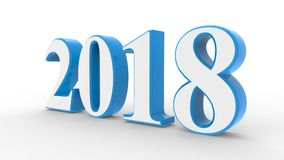 New year 2018 3d. Blue and white with white background stock illustration