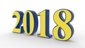 New year 2018 3d. Blue and yellow with white background Royalty Free Stock Image