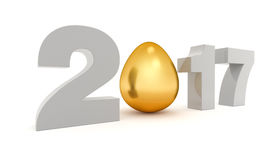New 2017 year 3D figures with the golden egg Royalty Free Stock Photography