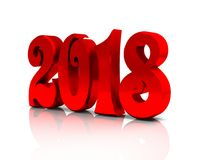 New year 3D figures. New year red glossy 3D figures in white background Royalty Free Stock Images