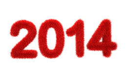 New year 2014 3d furry logo. 3d new year 2014 logo with red fur isolated on white background Royalty Free Stock Image