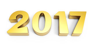 New year 2017 3D gold figures. New year 2017 gold figures 3D rendering Royalty Free Stock Image