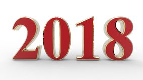 New year 2018 3d. Gold and red with white background Royalty Free Stock Image