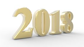 New year 2018 3d. Gold with white background Stock Photos