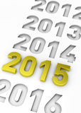 NEW YEAR 2015 - 3D Royalty Free Stock Photos