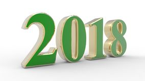 New year 2018 3d. Green and red with white background Stock Photo