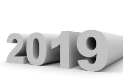 2019 New Year. 3D illustration Royalty Free Stock Photo