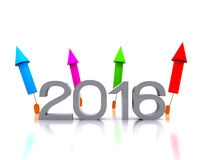 New Year 2016. 3D illustration - comes the new year with fireworks Royalty Free Stock Photography