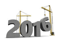 2016 new year. 3d illustration of cranes building 2016 year sign, over white background Royalty Free Stock Photography