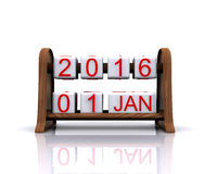 New Year 2016. 3D illustration - date, January 1, 2016, new year royalty free illustration