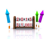 New Year 2016. 3D illustration - date, January 1, 2016, new year stock illustration