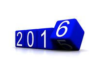 New Year 2016. 3D illustration - dice with new year 2016 Stock Image