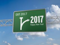 2017 New Year. 3D illustration of 2017 New Year, Exit Sign Stock Photos
