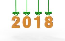 New year 2018 3d illustration Stock Photography