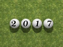 2017 New Year. 3D illustration of 2017 New Year, over golfballs Stock Photo