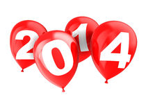 2014 new year. 3d illustration of red balloons with text '2014 Royalty Free Stock Image