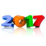 New Year 2017 3D illustration Royalty Free Stock Photos