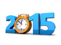 New year. 3d illustration of 2015 year sign and clock, over white background royalty free illustration