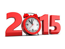 New year. 3d illustration of 2015 year sign and clock, over white background Royalty Free Stock Images