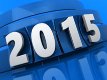 2015 new year. 3d illustration of 2015 new year sign over blue background Royalty Free Stock Photo