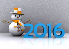 New Year 2016. 3D illustration - snowman to welcome the new year 2016 Royalty Free Stock Images