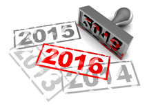 New year 2016. 3d illustration of new year 2016 stamp, over white background Royalty Free Stock Image