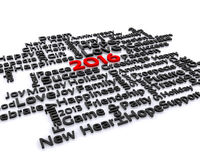 New Year 2016. 3D illustration - a wish for the new year, 2016 Royalty Free Stock Photography