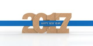 2017 New Year. 3D illustration of 2017 New Year, in wooden text with blue ribbon going through it Stock Photo