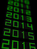 New year 2015. 3d illustration of years timeline with 2015 new year in focus Royalty Free Stock Photos