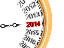 New Year 2014. 3D image of new year's clock of 2014 Royalty Free Stock Photos
