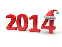 New Year 2014. 3D image of 2014 sign and christmas hat Stock Image